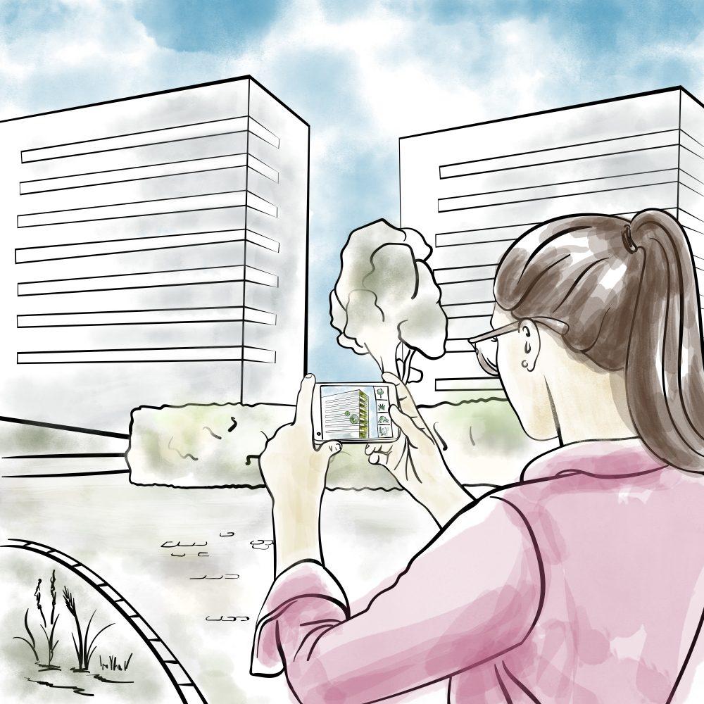 Zeichnung einer weiblichen Person mit einem Smartphone im AR Modus vor einem Gebäude.
