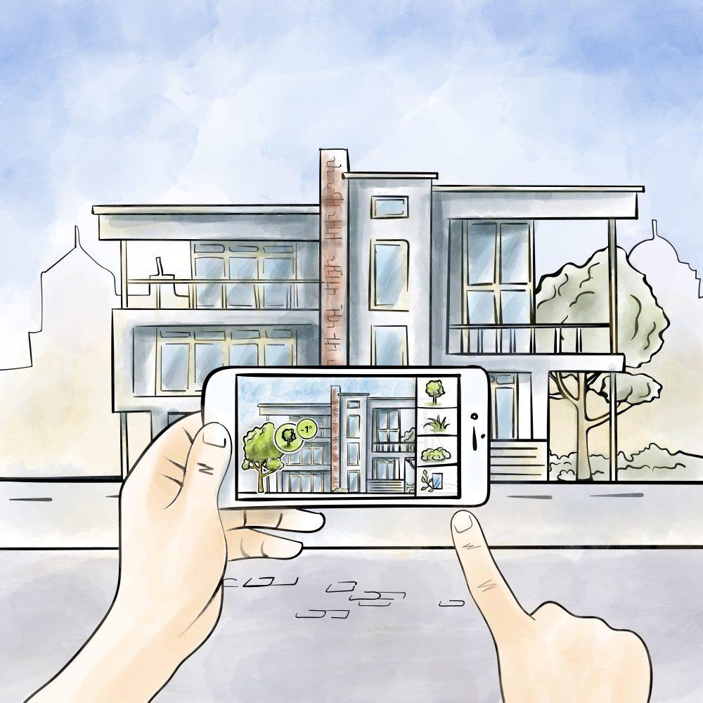 Zeichung eines Smartphones im AR Modus vor einem Gebäude.